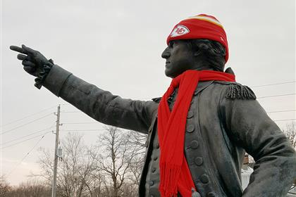 Statue of George Washington Wearing Chiefs Gear