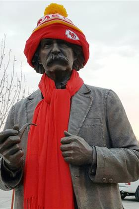 Statue of Mark Twain Wearing Chiefs Gear